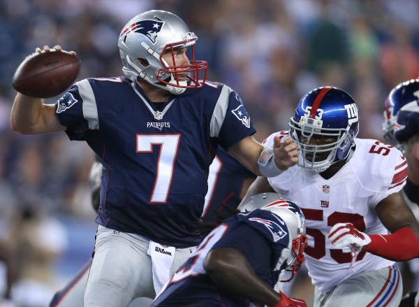 QB Ryan Lindley throws a pass during the preseason loss to the Giants. (Photo By: David Silverman)