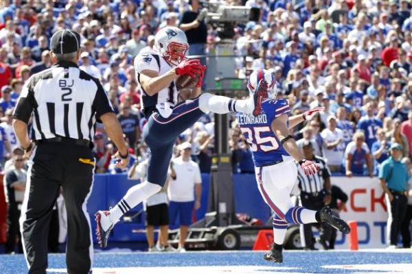 Julian Edelman catches a touchdown against the Bills. (Photo By: Kevin Hoffman-USA TODAY Sports)