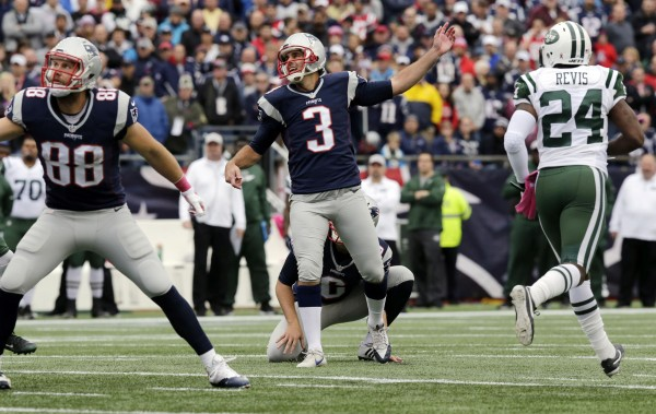 Stephen Gostkowski was 3/3 in field goals against the Jets. He was also 3/3 on his extra point attempts. (AP Photo/Charles Krupa)