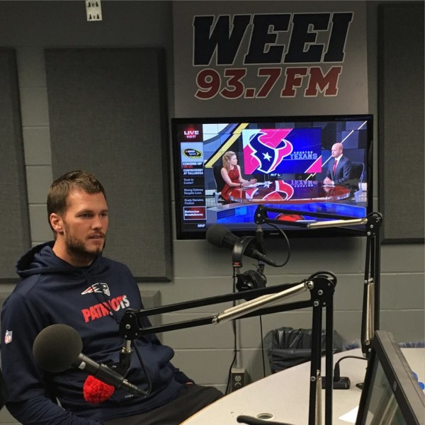 Tom Brady in studio with the guys on WEEI today. (Photo From WEEI.com's Facebook Page)
