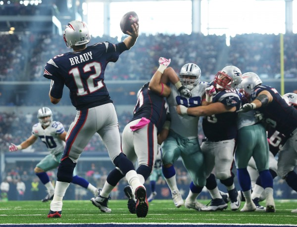 Tom Brady throws a pass during the win over Dallas. (Photo By: David Silverman)