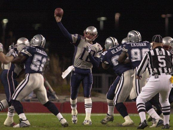 Tom Brady against the Dallas Cowboys in 2003. (Photo From Patriots.com)