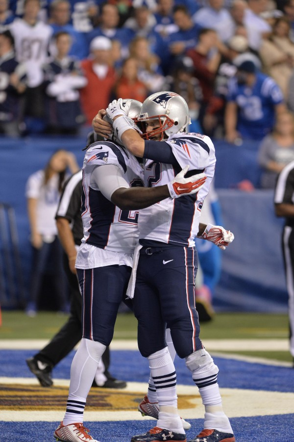 Brady and Blount celebrate their touchdown connection. (Photo By: Keith Nordstrom)