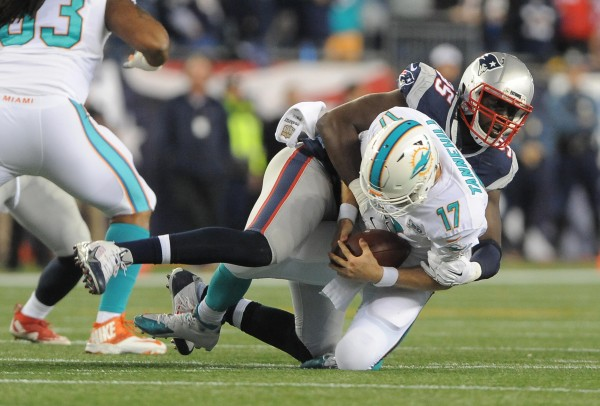 Chandler Jones took down Tannehill not once, but twice. (Photo By: Keith Nordstrom)