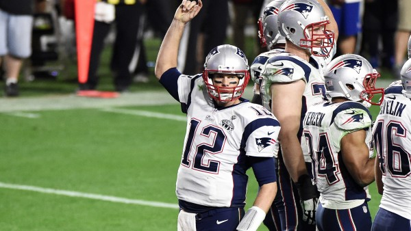 Tom Brady celebrates during the Super Bowl (Photo By: Harry How/Getty Images)
