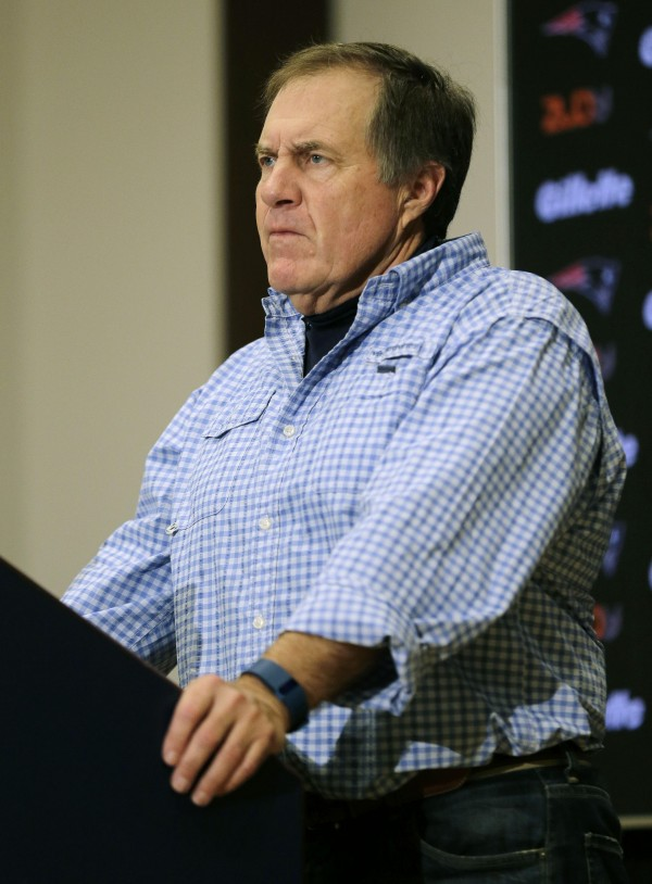 Bill Belichick after the Monday Night game.  (AP Photo/Charles Krupa)