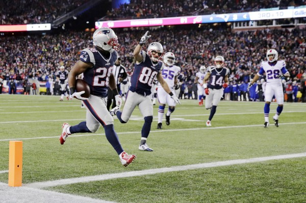 James White catches a touchdown pass. (Photo By: AP Photo/Charles Krupa)