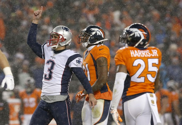 Stephen Gostkowski clutch in the snow.  (Photo By: AP Photo/Joe Mahoney)
