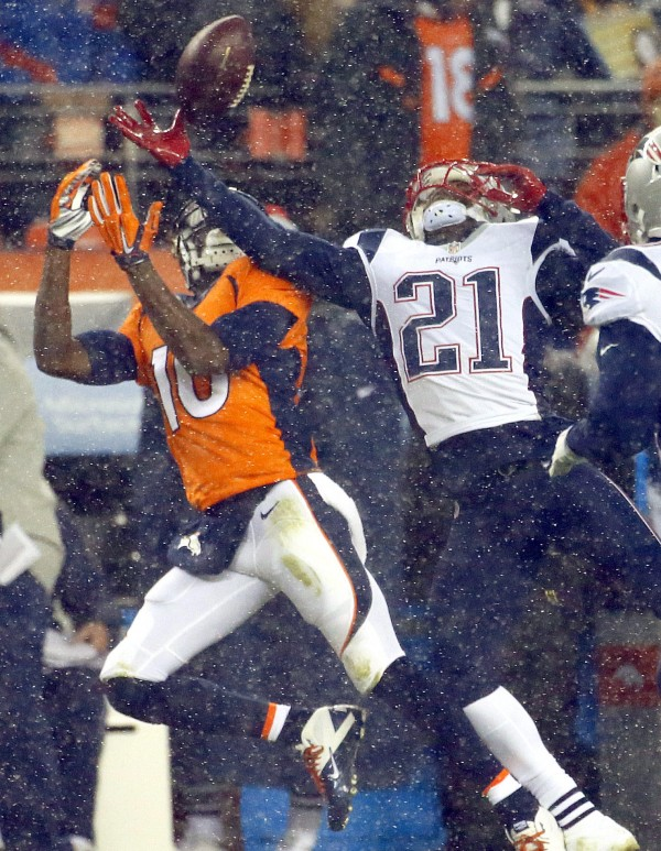 Malcolm Butler  breaks up a pass intended for Emmanuel Sanders (10) during the first half of an NFL football game, Sunday, Nov. 29, 2015, in Denver. (AP Photo/Jack Dempsey)