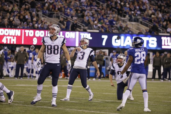 Stephen Gostkowski connects on a field goal early in the game. He would later connect on another to win the game. (Photo By: AP Photo/Julie Jacobson)