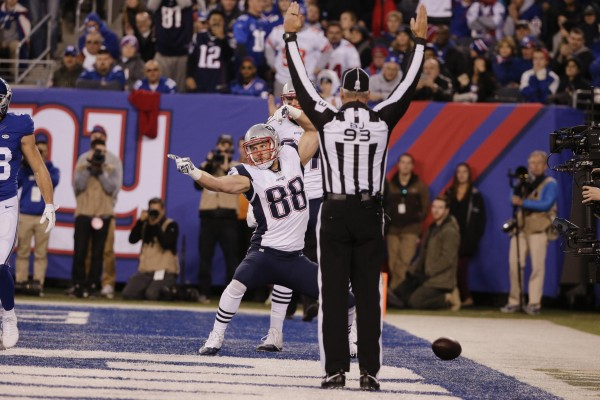 Scott Chandler celebrates after a touchdown catch. (AP Photo/Julie Jacobson)