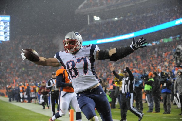 Gronk scored a touchdown last night and avoided a serious knee injury. (Photo by: Keith Nordstrom)