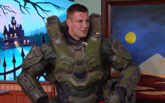 Patriots Tight End Rob Gronkowski drops by the Late Night Show with Stephen Colbert to trick-or-treat and promote a video game. (Photo From LarryBrownSports.com)