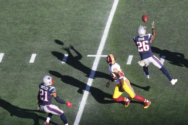 Logan Ryan with a first quarter interception of QB Kirk Cousins. (Photo From Patriots.com)