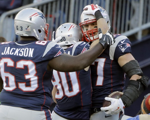 Gronk celebrates his touchdown with Jackson and Amendola (AP Photo/Steven Senne)
