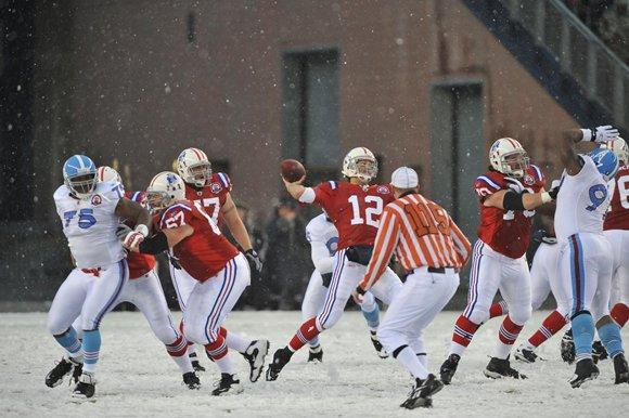 The snow game when the Pats defeated the Titans 59-0. (Photo Credit: Keith Nordstrom/Patriots.com)