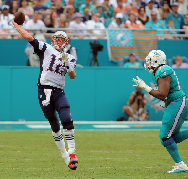 Tom Brady and the Patriots slip in my final power rankings. (Photo By: Keith Nordstrom)