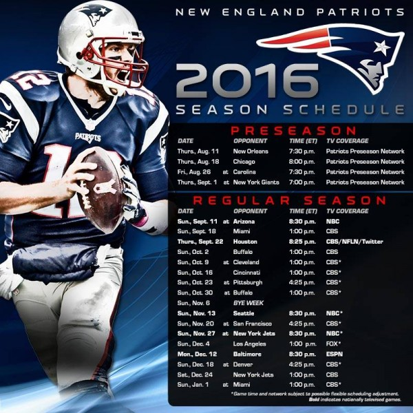 The Patriots Preseason and Regular Season schedule! (Photo From ...