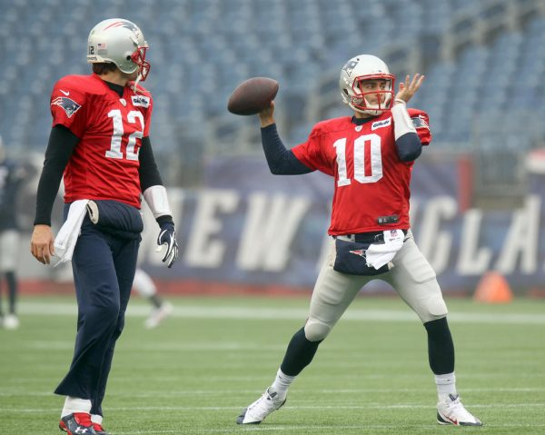 Brady and Garoppolo during Pats Camp. Photo by: John Wilcox.