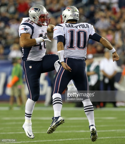 Garoppolo time begins tonight, for a short time. (Photo From Boston Globe)